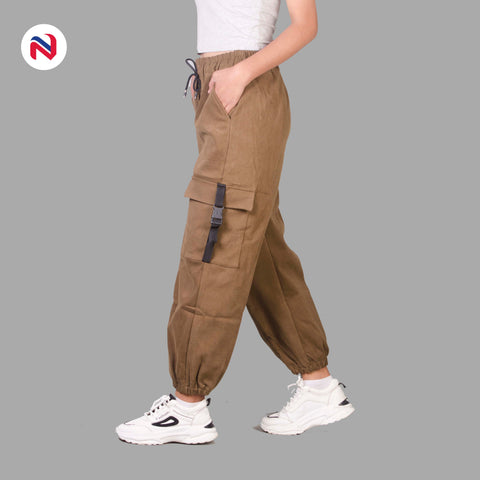 Nyptra Light Brown Cotton Inner Fleece Joggers For Women