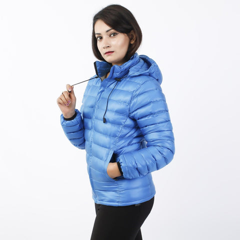 Sky Blue Silicon Down Jacket For Women price in Nepal