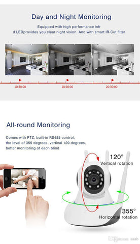 Mini Cctv Wifi Camera Ip 720P Home Security Camera Wi-Fi P2P Two Way Audio Night Vision 3 Antennas Wireless Baby Monitor