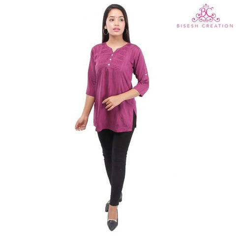 Purple Quarter Sleeve Designed Tunic For Women