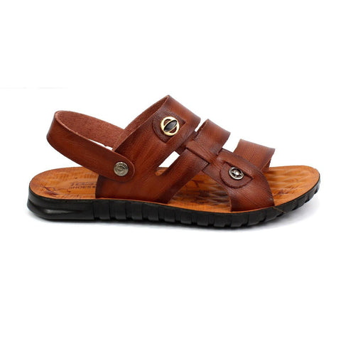 Pu-Leather Solid Strap Sandals For Men