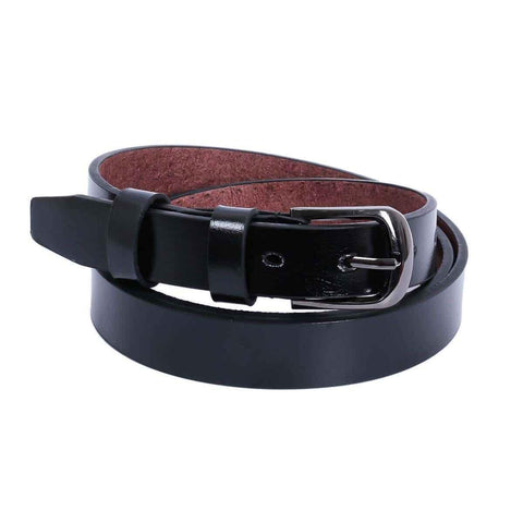 Black Solid Buckle Belt For Men