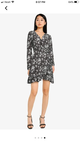 Zalora Basics V Neck Ruffle Wrap Dress No Ratings