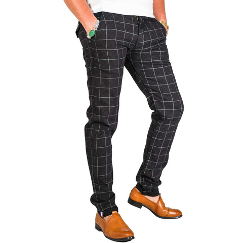 Virjeans Stretchable Cotton Check Black Chinos Pant For Men (Vjc 715) 4
