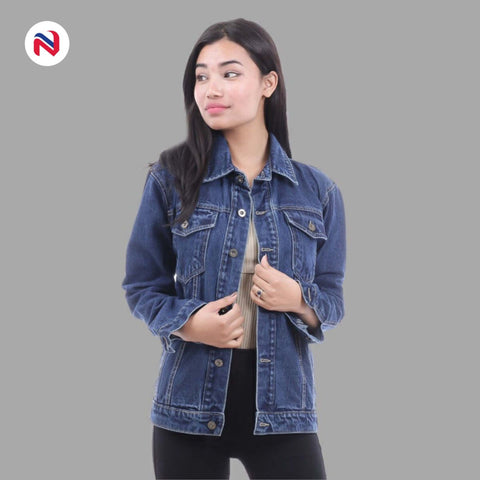 Nyptra Dark Blue Solid Oversize Plain Denim Jacket For Women