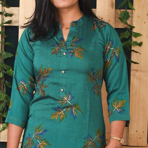 Bisesh Creation Seagreen Handworked Ethnic Printed Kurti for Women price in nepal