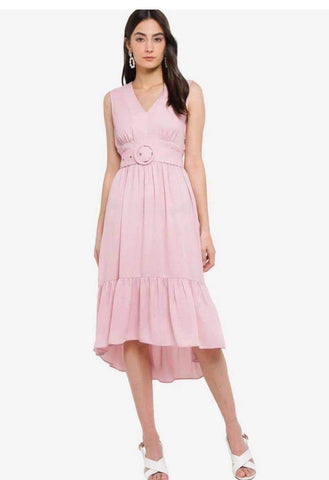 Zalora Pink Plunged Neck Tiered Dress