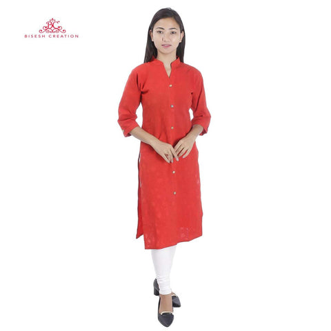 Bisesh Creation Red Bubbles Printed Batik Cotton Kurti For Women price in nepal