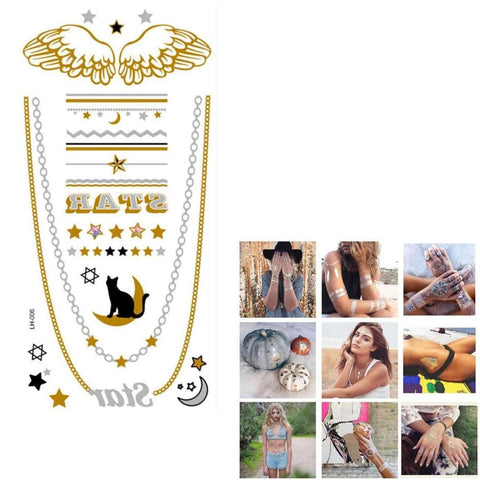 Moon Cat Stars Wings Chain Waterproof Temporary Jewelry Body Sticker price in Nepal