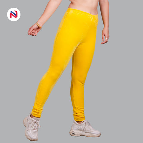 Nyptra Yellow Plain Velvet Fleece High Rise Fancy Leggings For Women