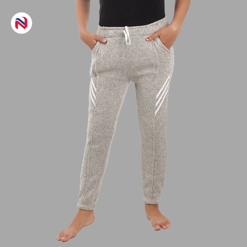 Nyptra Cream Plain/Side Stripes Inner Fleece Joggers For Women price in nepal