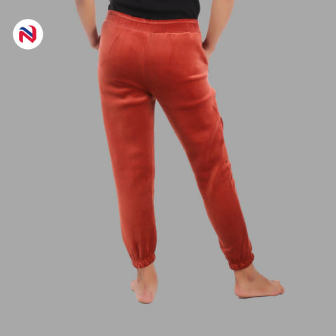 Nyptra Brown Velvet Stripes Inner Fleece Joggers For Women