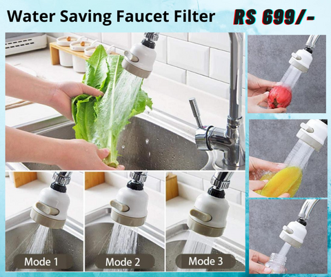 Rotatable Universal Splash Proof 3 Modes Water Saving Nozzle Faucet Filter for Kitchen Basin Tap price in Nepal