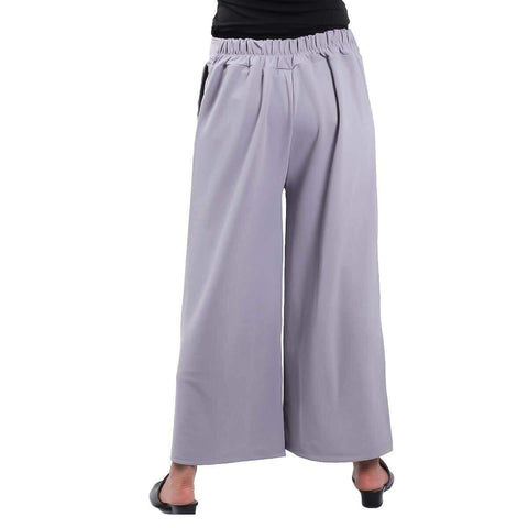 Grey Solid Wide Leg Belt Pant For Women