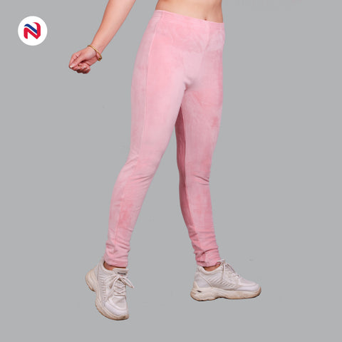 Nyptra Baby Pink Plain Velvet Fleece High Rise Fancy Leggings For Women