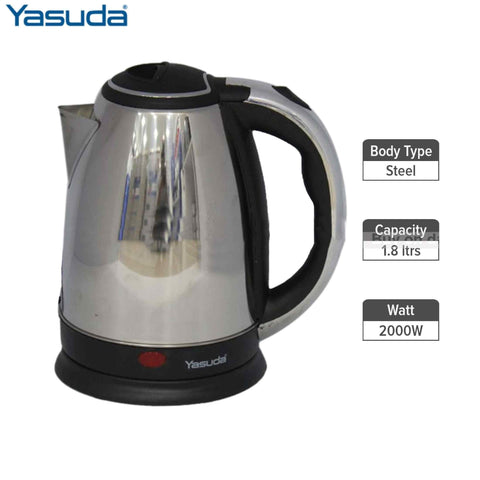 Yasuda Ys-18A 1.8Ltr Stainless Steel Electric Kettle- Steel/Black price in nepal