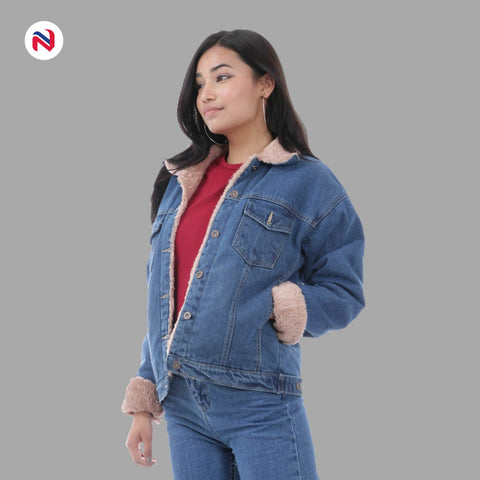 Nyptra Blue Solid Fur Denim Jacket For Women price in nepal