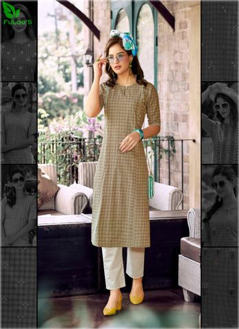 FuLoo's Theory Pure Cotton Pattern Designer Embroidered Kurti for Women #07 price in nepal