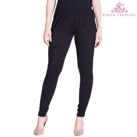 Sheetal Black Solid Churidar Leggings For Women