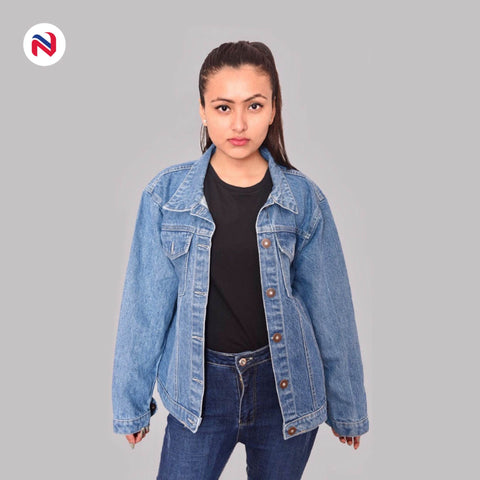 Nyptra Blue Solid Denim Jeans Jacket For Women price in nepal