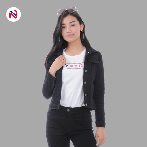 Nyptra Black Solid Crop Denim Jacket For Women price in nepal