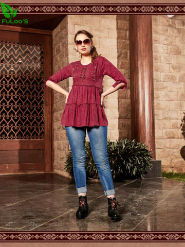 Senorita Rayon Handwork Stylish Short Tops #1003 price in nepal