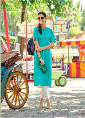 FuLoo's Olive Pure Cotton Pattern Designer Embroidered Kurti for Women #01 price in nepal