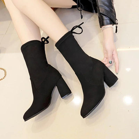 Fabulous Scrub Leather Women Fashion Hoof Heels Boots - ( Nep-1)