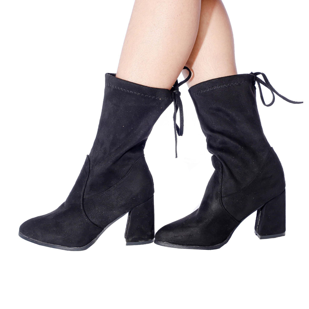 Luxurious New Trendy Sweet Lamb Wool Zipper Block Heel Ankle Winter Boots For Women (Smile) price in Nepal