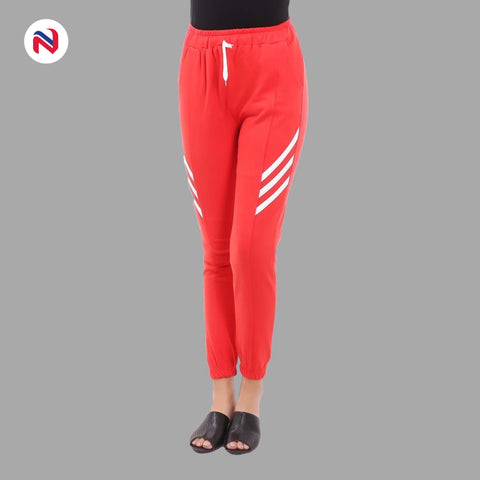 Nyptra Red Plain/Side Stripes Joggers For Women price in nepal