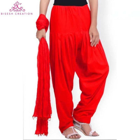Combo Of Red Panjabi Semi-Patiala Shalwar And Pote Beads Bordered Chiffon Shawl
