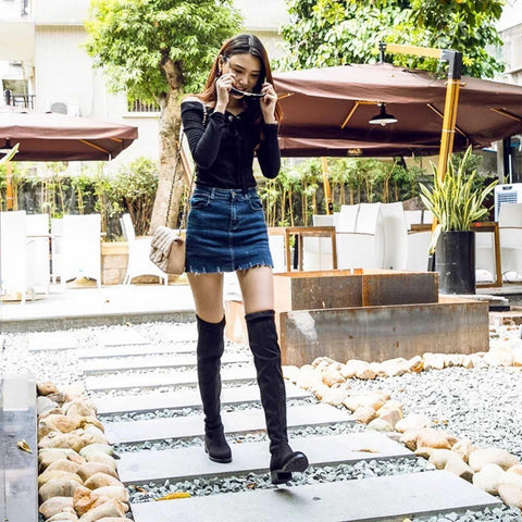 Black Knee High Boots For Women - ( Nep-1)