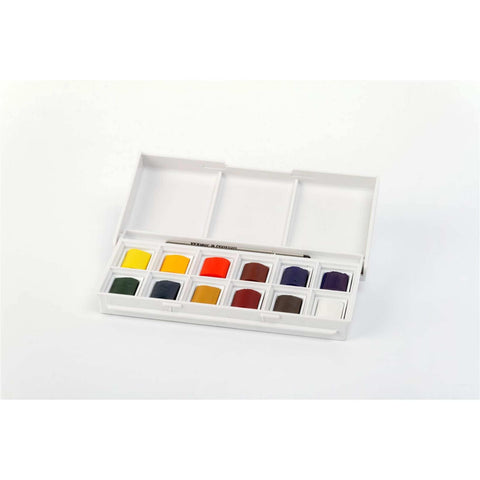 Winsor & Newton Cotman Pocket Watercolor Set-12 Half Pans+ 1 Pocket Brush