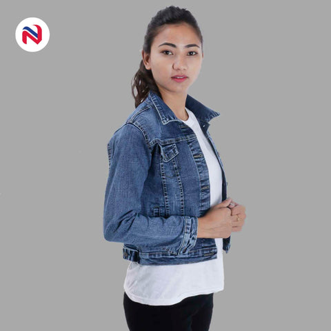 Nyptra Light Blue Crop Denim Jacket For Women price in nepal