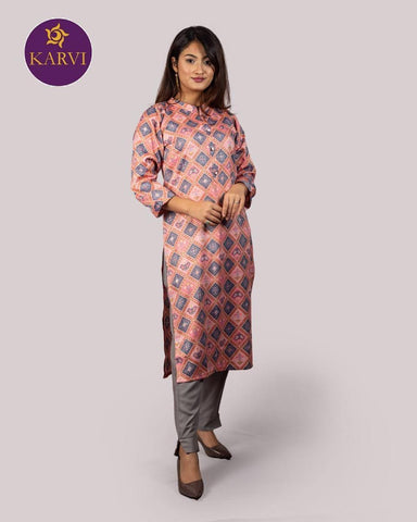 KARVI Pink & Grey Ikat pattern design Ethnic Kurti for Women with Front Button price in Nepal