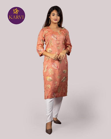 KARVI Peach Leaf Printed with Golden Beads Handwork Kurti for Women price in Nepal