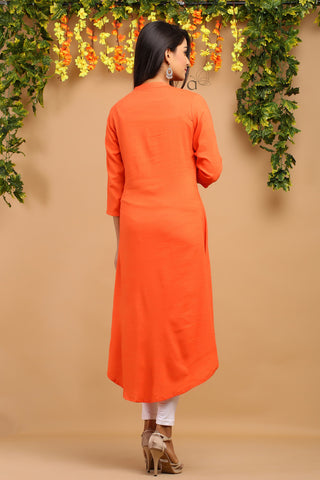 Rayon weaving embroidery work long Kurti #Orange
