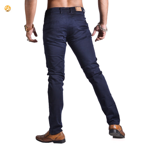 Blue Chinos Skinny Fit Cotton Pant for Men