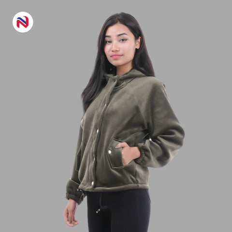 Nyptra Green Solid Velvet Buttoned Pullover Hoodie Jacket For Women