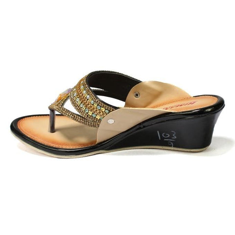 Golden/Black V-Strap Wedge Heel Shoes For Women