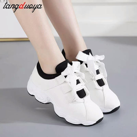 Genuine Light White Lace-up Sneakers For Women