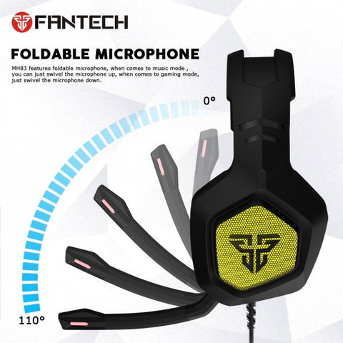Fantech MH83 Adjustable Over Ear Gaming Headphone RGB Light Noise Cancelling Gaming Headset 7.1