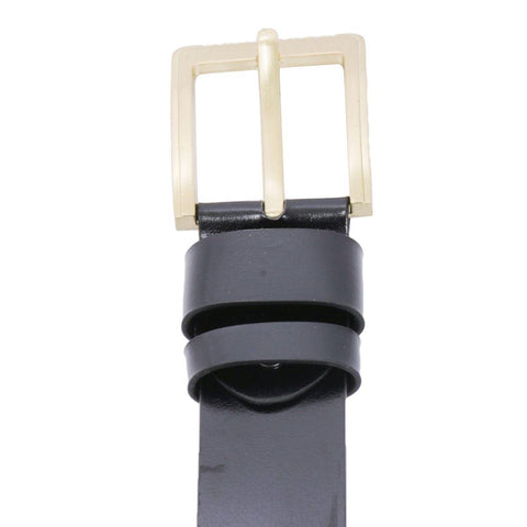 Black Solid Golden Buckle Belt For Men
