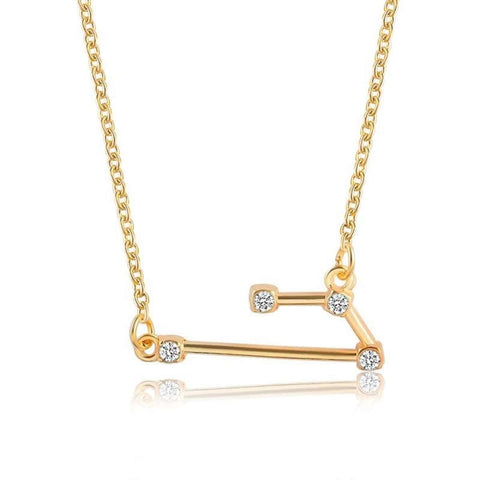 Gold Toned Aries Twelve Constellation Patterned Zodiac Sign Necklace For Women price in Nepal