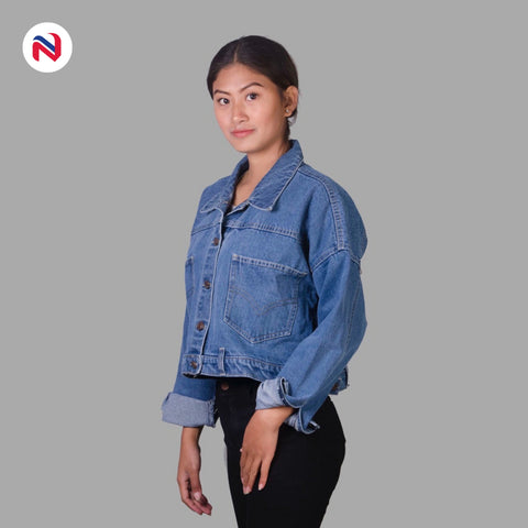 Nyptra Light Blue Solid Denim Jacket For Women price in nepal