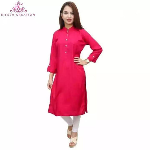 Bisesh Creation Pink 4 Button Kurta And White Leggings