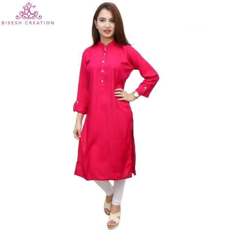 Bisesh Creation Pink 4 Button Kurta And White Leggings price in Nepal