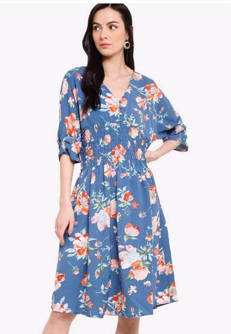 Zalora Dmoked Waist Dolman Sleeves Dress