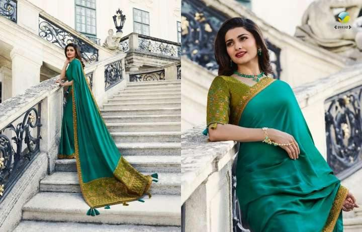 Turquoise Color Crepe Silk Designer Party Wear Sarees For Women