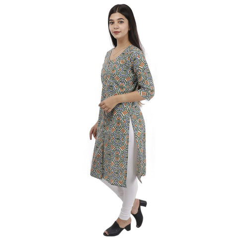 Bisesh Creation Multicolor Front Buttoned Floral Printed Kurti For Women
